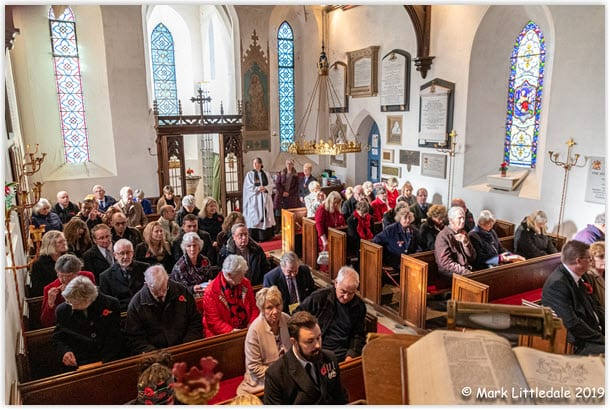 Tiny St Nicholas Church, Sulham, packed for the 2019 Remembrance Service